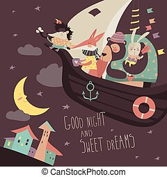 Cute animals swimming on boat in the night sky