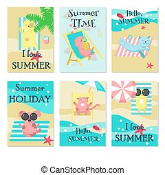 Cute animals taking rest on beach vector card set