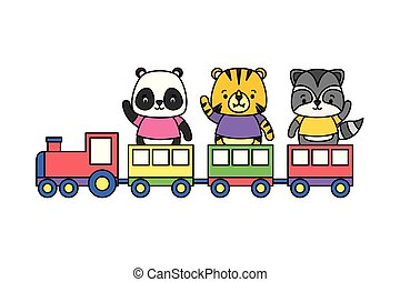 cute animals train toy