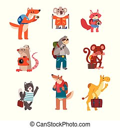 Cute animals traveling set, wild animals cartoon characters with backpacks and suitcases vector Illustration on a white background