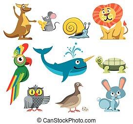 Cute animals vector set in cartoon style