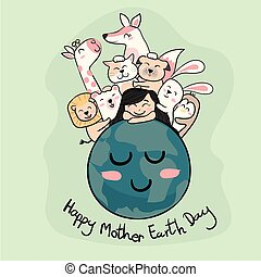 cute animals with a girl on the earth  mother earth day