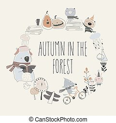 Cute animals with autumn elements. Hello autumn