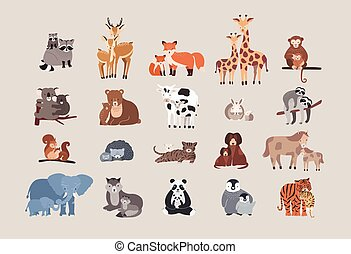 cute animals with babies set. raccoon, deer, fox, giraffe,...