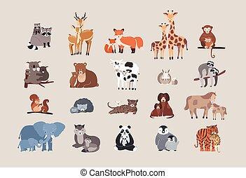 cute animals with babies set. raccoon, deer, fox, giraffe, monkey, koala, bear, cow, rabbit, sloth, squirrel, hedgehog, cat, dog, pony horse, elephant, wolf with cubs.