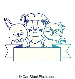 cute animals with ribbon characters