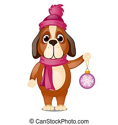 Cute animated dog in a scarf and hat is holding in his paw a Christmas toy isolated on white background. Vector cartoon close-up illustration.