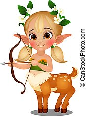 Cute animated elf girl centaur with spotted deer body isolated on white background. Vector cartoon close-up illustration.