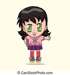 Cute anime chibi little girl.