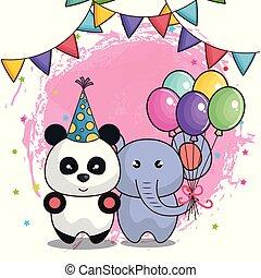 cute, aniversário, animais, cartão, feliz