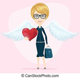 cute, anjo, cartão cumprimento, valentine