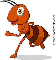 Cute ant cartoon running - Vector illustration of cute ant...