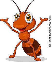 Vector illustration of cute ant cartoon waving