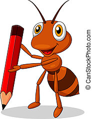 Cute ant cartoon with red pencil