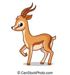 Cute antelope stands on a white background in cartoon style. Vector illustration