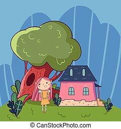 cute, antigas, casa, desenho, paisagem, pequeno, doodle, infantil, vector., desenhado, oak-tree, coloridos, cartaz, livro, história, mão, linha, crianças, cartão postal, girl., verde, fada, ou