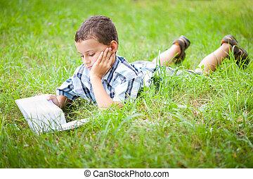 cute, ao ar livre, livro, criança, leitura