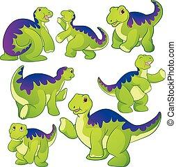 Cute Apatosaurus - Cute green Apatosaurus cartoon character...