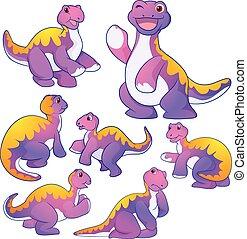Cute Apatosaurus - Cute purple Apatosaurus cartoon character...