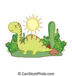 cute apatosaurus in the landscape