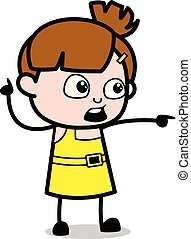 cute, apontar, personagem, mostrando, -, ilustração, vetorial, dedo, menina, caricatura