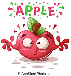 Cute apple illustration - cartoon characters.