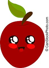 Cute apple, illustration, vector on white background.