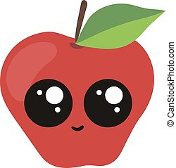 Cute apple with big eyes, illustration, vector on white background.