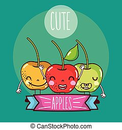 Cute apples fruits
