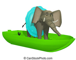 cute, aprendizagem, swimmimg, elefante, caricatura, 3d