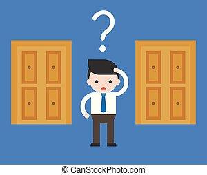 cute, aproximadamente, conceito, porta, negócio, abertos, decisão, confundir, escolher, situação, homem