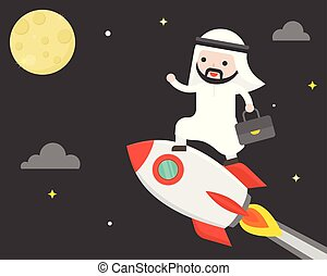 Cute arab business man riding rocket flying in sky to reach the moon, business situation mission concept