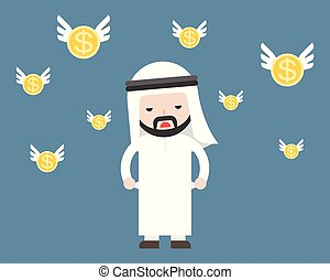 Cute Arab businessman broke and short of money with flying gold coins around him, business situation concept