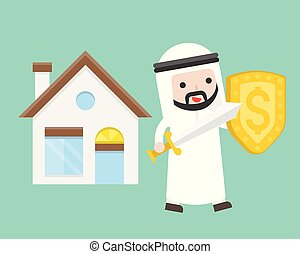 Cute arab businessman carry sword and shield protecting house , business situation insurance of property concept
