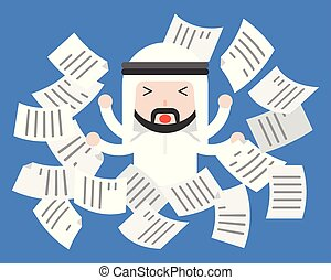 Cute Arab businessman distress or frustrate with flying paper, business situation work life balance concept