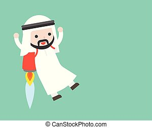 Cute Arab businessman flying with backpack rocket , business situation leader concept
