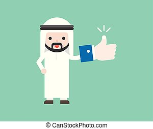 Cute Arab businessman holding thumbs up or like sign in his hand, business situation concept