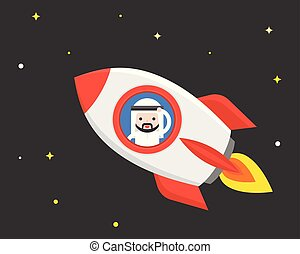 Cute Arab businessman in flying rocket at night scene , business situation start up or business travel concept