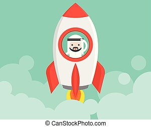 Cute Arab businessman in launching rocket, business situation start up concept