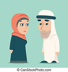 Cute Arab Male Female Family Cartoon Design Character Icons Vector Illustration