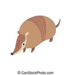 Cute Armadillo, Adorable Pleistocene Animal Cartoon Vector Illustration