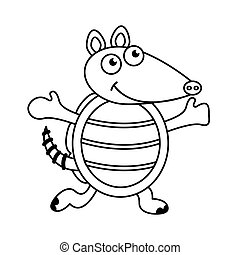 cute armadillo character icon