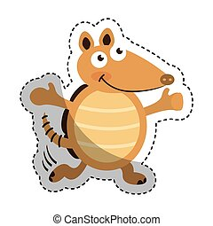 cute armadillo character icon