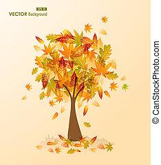 cute, arquivo, eps10, transparência, estação, folhas, árvore, outono, experiência., vetorial, fácil, editando, transparente