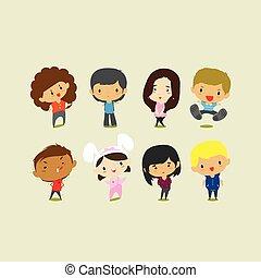 cute, arte, clip, girls., ilustração, meninos, vetorial, caricatura