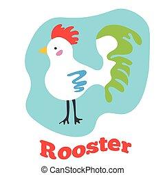 cute, arte, clip, ilustração, vetorial, caricatura, rooster.