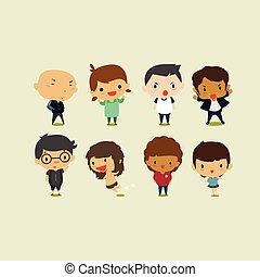 cute, arte, clip, meninas, ilustração, set2., meninos, vetorial, caricatura