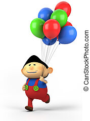 boy with balloons - cute asian boy with balloons; high...