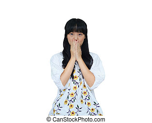 Cute Asian Girl Covering her Mouth. Looking Shock.