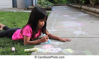 Cute Asian Girl Doing Sidewalk Art